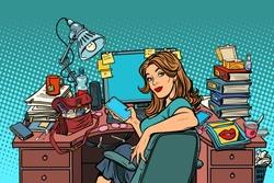 Businesswoman in the workplace. Pop art retro vector illustration vintage kitsch