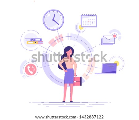 Businesswoman is standing and holding briefcase with office icons on the background. Multitasking and time management concept.  Effective management. Vector illustration.