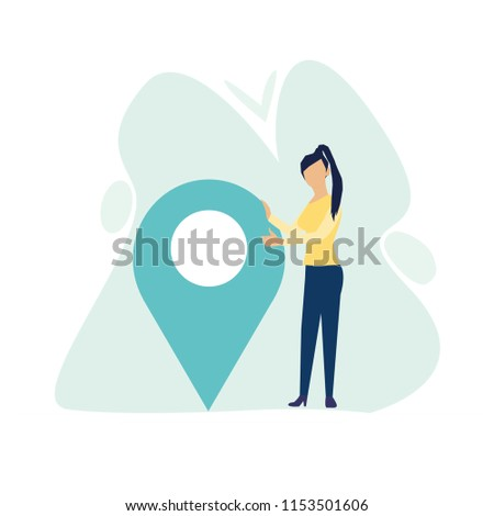 Businesswoman is standing close to big map pointer. Our office location. Vector illustration in flat cartoon style.