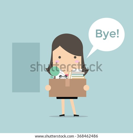 businesswoman leaving job vector