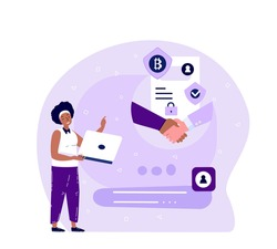 Businesswoman Make a Deal on Bitcoin Smart Contract Bargain in Laptop Device. Innovation Technology Agreement Business Concept.Cryptocurrency,Crypto Start Up.High Technologies.Flat Vector Illustration