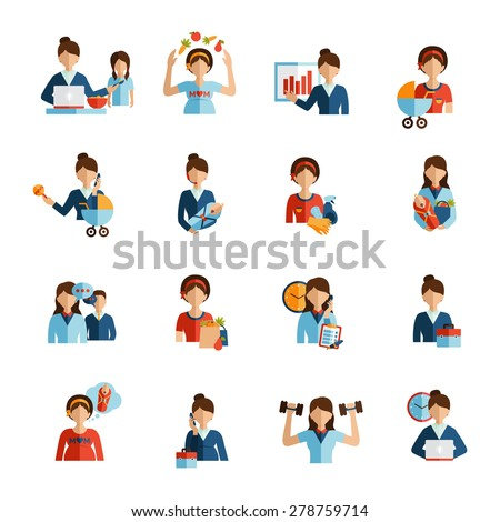 Businesswoman mother daily routine successful work family and fitness combination flat icons set abstract vector isolated  illustration