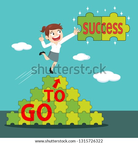 Businesswoman on success puzzle to success, illustration vector cartoon