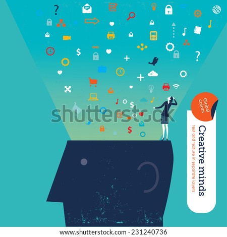 Businesswoman on top of a head with colorful icons. Vector illustration Eps10 file. Global colors. Text and Texture in separate layers.