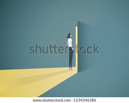 businesswoman opening door