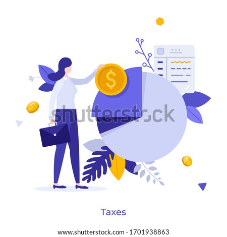 Businesswoman or office worker standing beside pie chart and holding dollar coin. Concept of taxpayer and tax burden, taxation, fiscal policy, budget planning. Modern flat colorful vector illustration Stock photo ©