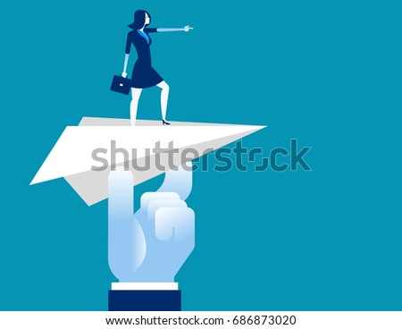 Businesswoman pointing go to forward. Concept business vector illustration.