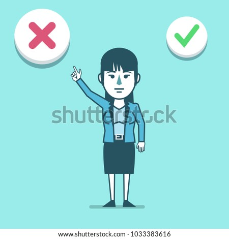 Businesswoman points to decline check mark. To reject the offer, web poll. Simple style vector illustration