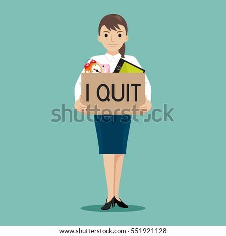 businesswoman presenting i quit