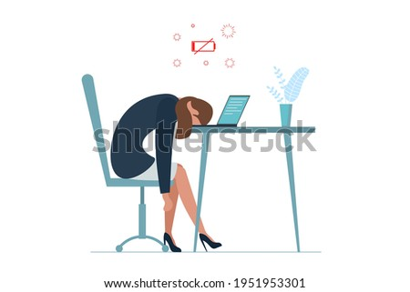 Businesswoman professional burnout syndrome. Exhausted sick tired female manager sit with head down on laptop. Sad boring woman. Frustrated worker mental health problems. Long work illustration Foto d'archivio ©