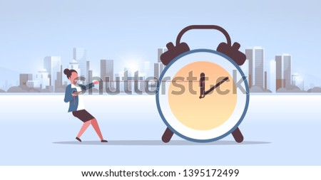 businesswoman pulling clock arrow deadline time management concept business woman pushing back hour hand modern city buildings cityscape background horizontal flat full length