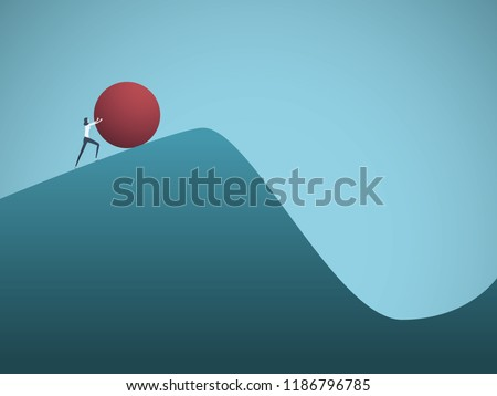 Businesswoman pushing boulder uphill vector concept of Sisyphus. Symbol of hard work, futile effort, strength, struggle, challenge but also motivation and ambition. Eps10 vector illustration.