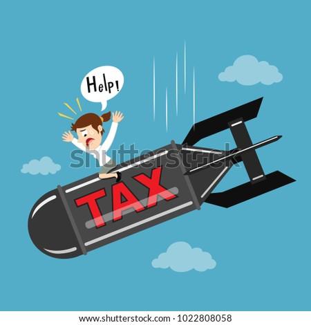 businesswoman riding on tax