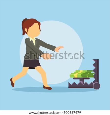 businesswoman running into bear