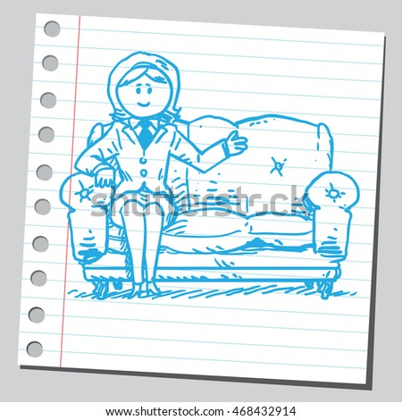 Businesswoman sit on couch