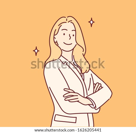 Businesswoman smiling gleefully, feeling happy, satisfied and relaxed, with crossed arms. Hand drawn style vector design illustrations.