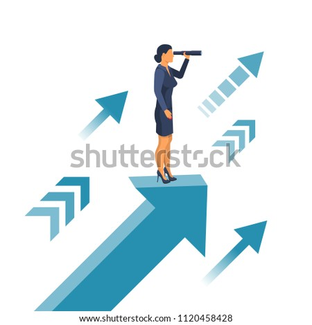 Businesswoman standing on arrow with telescope in hand. Vision business concept. Looking in future. Vector illustration flat design. Isolated on background. Search solution.