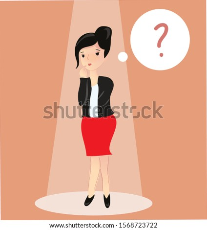 businesswoman stands up and thinks of a solution to her problem. She wears office clothes. Woman and question bubble thinking, expression and think problem