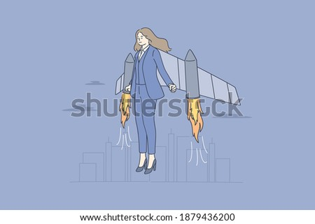 Businesswoman, successful career, launching project concept. Businesswoman cartoon character with jetpack feeling ready to start meaning successful ideas project and business launching