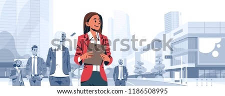 businesswoman team leader boss stand out business people group individual leadership concept female cartoon character portrait cityscape background horizontal banner flat vector illustration