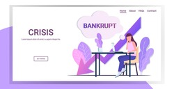businesswoman using laptop at workplace bankrupt chat bubble economic arrow falling down financial crisis bankruptcy concept downward chart full length copy space horizontal vector illustration