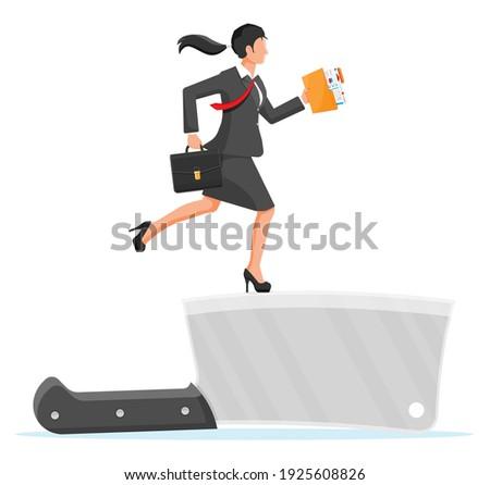 businesswoman walking on edge