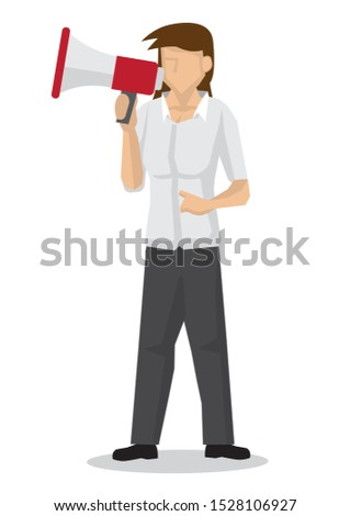 Businesswoman with a megaphone. Concept of sales, consumerism or marketing. Flat isolated vector illustration.