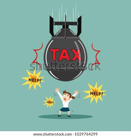 businesswoman with big tax bomb
