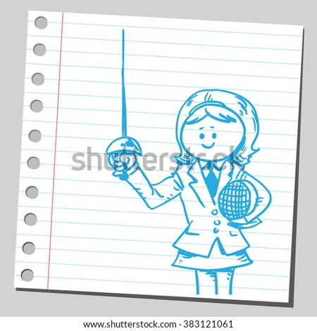 businesswoman with fencing