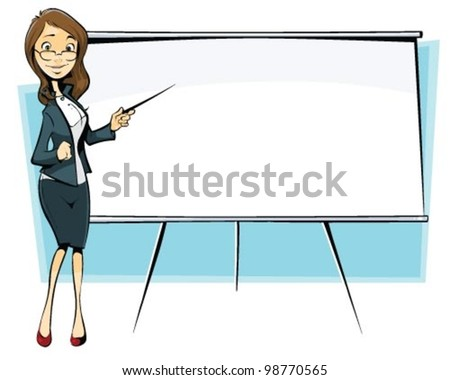 businesswoman with flip-chart