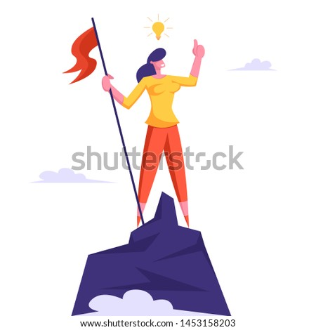 Businesswoman with Light Bulb over Head Climbed to Top of Mountain and Hoisted Flag on Rock Peak. Victory, Success, Business Competition, Challenge, Goal Achievement Cartoon Flat Vector Illustration