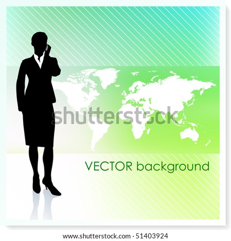 Businesswoman with World Map on Vector Background Original Illustration