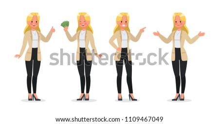 Businesswoman working character vector design