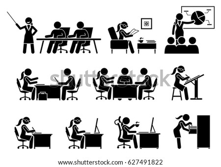 Businesswoman Working in an Office. Artworks depict business woman works by doing presentation, reading, making business proposal, discussion, writing, and using computer.
