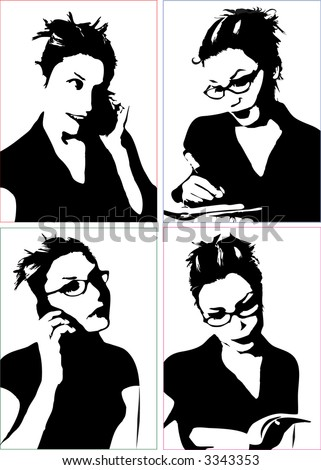 businesswoman writing glasses, girl on the phone