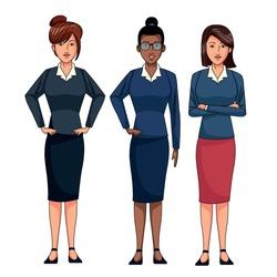 businesswomen avatar cartoon character wearing sueter and skirt vector illustration graphic design