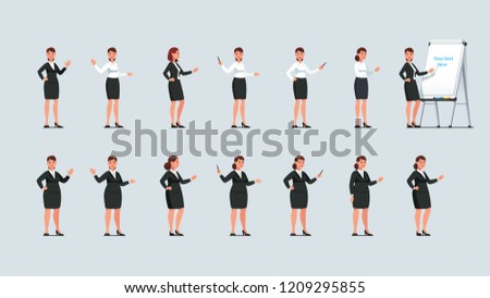 Businesswomen standing, gesturing, pointing at whiteboard flipchart with pointer stick, pen & hands set. Business woman presentation or teacher lecture poses next to flipchart. Flat vector illustratio