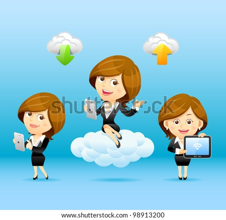 Businesswomen,Tablet PC,Cloud computing Set