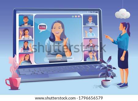 Businesswomen use Video conference landing. People on window screen taking with colleagues. Videoconferencing and online meeting workspace page, men and women learning. Vector illustration, Flat
