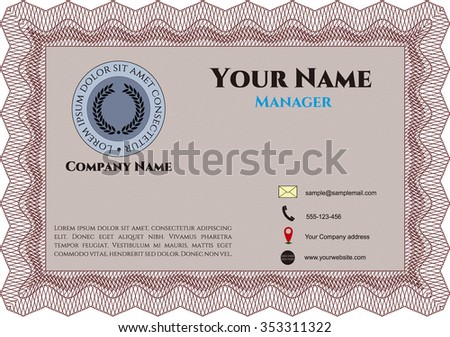Bussines or presentation card, retro style. Excellent complex design. Vector illustration.Printer friendly.