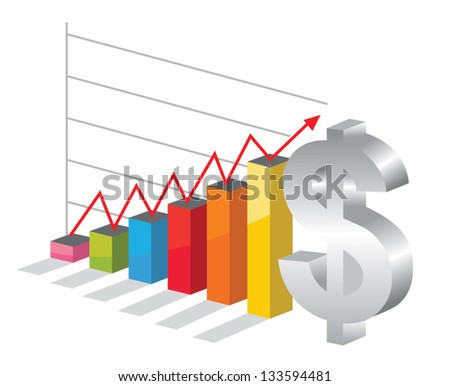 Bussiness graph with silver Dollar sign