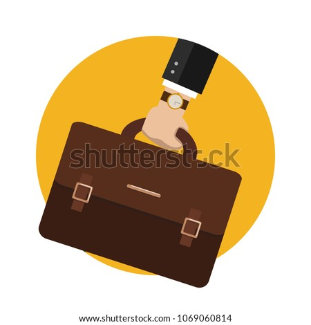 Bussiness, hand holding briefcase. Vector