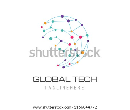 Bussiness tecshnology logo template vector