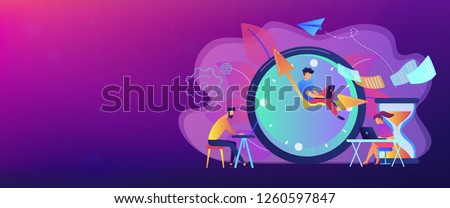 Busy business people with laptops hurry up to complete tasks at huge clock and hourglass. Deadline, project time limit, task due dates concept. Header or footer banner template with copy space.