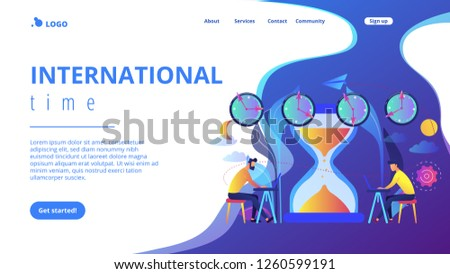 Busy businessmen with laptops near hourglass working in different time zones. Time zones, international time, world business time concept. Website vibrant violet landing web page template.