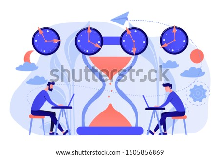 Busy businessmen with laptops near hourglass working in different time zones. Time zones, international time, world business time concept. Living coral blue vector isolated illustration