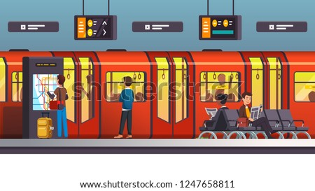 Busy city underground subway transit station with arriving train. Passengers standing & sitting on station ground floor waiting for train. Flat style cartoon vector isolated illustration