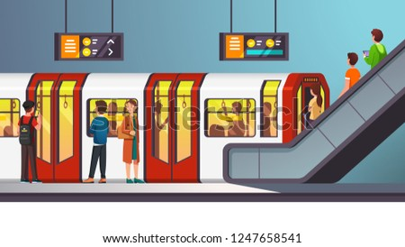 Busy city underground subway transit station with arriving train. People man and woman passengers descending to ground floor on moving staircase. Flat style cartoon vector isolated illustration