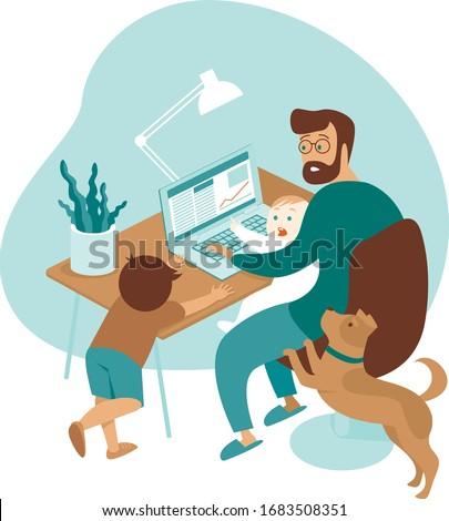 Busy father working from home with kids and dog. stay at home and social distancing to avoid virus pandemic spreading. Flat vector illustration