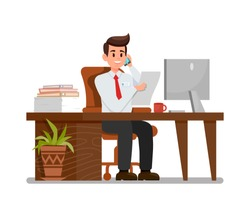Busy Man at Workplace Flat Vector Illustration. Office Worker Talking on Phone Cartoon Character. Secretary, Personal Assistant, Sales Manager. Businessman at Workspace. Working Hours